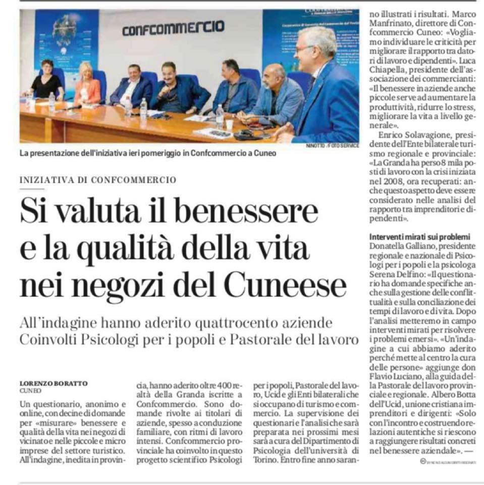Progetto Di Ricerca Salute Benessere E Qualita Della Vita Nelle Piccole E Medie Imprese Della Provincia Di Cuneo Psicologi Per I Popoli Piemonte